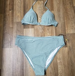 Green and White Shde & Shore swimsuit